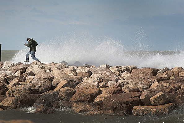 High Winds Bring Rough Surf And Waves To Lake Michigan